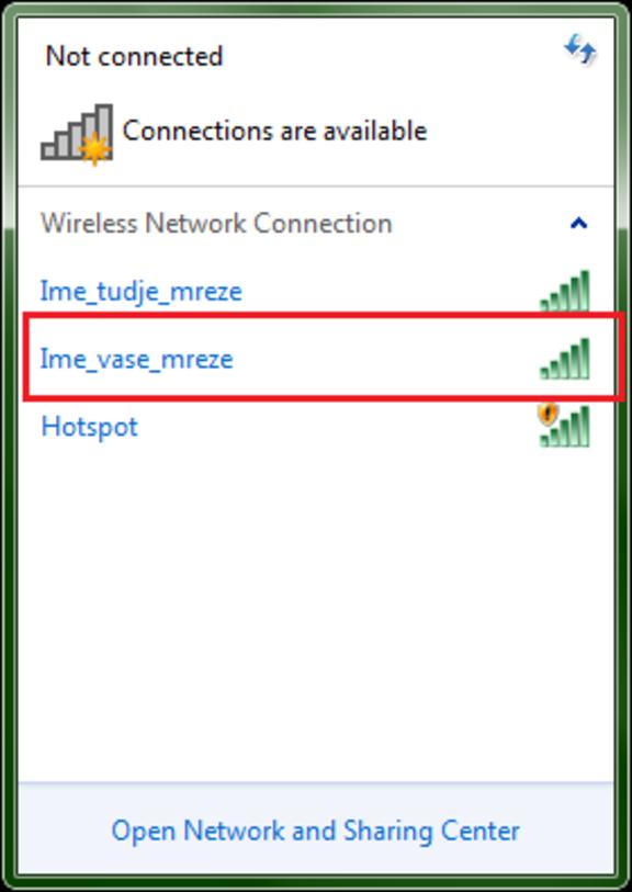 upute za povezivanje s mrežom